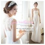 wm5048 พร้อมส่ง ชุดแต่งงาน สีขาว แขนกุด ซีทรูหน้าหลัง ซิปหลัง สวย หวานหรู สไตล์เกาหลี ราคาถูกกว่าเช่า