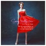 Q-185 พร้อมส่ง ชุดไปงานแต่งงาน สีแดง เกาะอก สวยหวานน่ารัก เซ็กซี่ ราคาถูกกว่าเช่า
