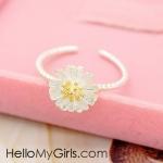 แหวนแฟชั่นเกาหลี แหวนรูปดอกเดซี่สีขาว (Free Size)