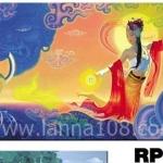 ภาพวาดแนวจริยศิลป์ล้านนา พิมพ์ลงผ้าใบ รหัสสินค้า RP - 16