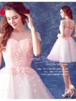 Z-0021 ชุดไปงานแต่งงานน่ารัก แขนมี สุดหรู สวย เก๋น่ารัก ราคาถูก สีชมพู ชุดสั้น