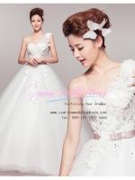 b-0214 ขาย ชุดแต่งงาน ไหล่เดี่ยว ที่สวยที่สุดในโลก ราคาถูก