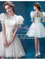 ws5027 ขาย ชุดแต่งงานสั้น แขนตุ๊กตา แนววินเทจ สวยหรูแบบคลาสิค ราคาถูกกว่าเช่า