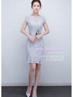 Z-0320 ชุดไปงานแต่งงานน่ารัก แนววินเทจหวานๆ สวย งามสง่า ราคาถูก สีเทา เข้ารูป งานหมั้น