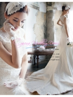 WM40003ชุดแต่งงาน ราคาถูก แบบมีแขน เว้าหลัง สวย หวาน หรู ที่สุดในโลก