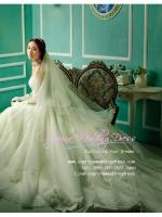 WB40012 ขาย ชุดแต่งงา นสไตล์เจ้าหญิง กระโปรงลากยาว งานละเอียดฝุดๆ ผ้าหรูมากค่ะ สวยหรู แบบชุดแต่งงานดารา