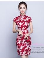 Z-0055 ชุดกี่เพ้าสวยๆ หรู ราคาถูกกว่าเช่า ชุดยกน้ำชา สีแดง ชุดสั้น