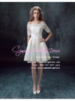ws5036 ขาย ชุดแต่งงานสั้น แขนสามส่วน โอบไหล่ สวย หวาน หรู น่ารักมากๆ ราคาถูกกว่าเช่า