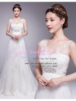 b-0215 ขาย ชุดแต่งงานคอวี แขนกุด สุดหรู ชุดแต่งงานดารา ที่สวยที่สุดในโลก
