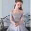 Z-0076 ชุดไปงานแต่งงานน่ารัก ลูกไม้ สุดหรู สวย เก๋น่ารัก ราคาถูก สีเทา ไหล่ปาด thumbnail 3