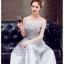 Z-0197 ชุดไปงานแต่งงานน่ารัก แนววินเทจหวานๆ สวย งามสง่า ราคาถูก สีเทา เกาะอก thumbnail 4
