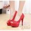 X-004 ขายรองเท้าเจ้าสาว รองเท้าแต่งงาน สวยหรู ดูดีราคาถูกกว่าเช่า สีแดง thumbnail 2