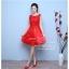 Z-0059 ชุดไปงานแต่งงานน่ารัก แขนกุด ผ้าลูกไม้ สุดหรู สวย เก๋น่ารัก ราคาถูก สีแดง thumbnail 2