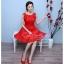 Z-0059 ชุดไปงานแต่งงานน่ารัก แขนกุด ผ้าลูกไม้ สุดหรู สวย เก๋น่ารัก ราคาถูก สีแดง thumbnail 3