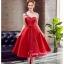 Z-0199 ชุดไปงานแต่งงานน่ารัก แนววินเทจหวานๆ สวย งามสง่า ราคาถูก สีแดง thumbnail 2