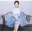 Z-0326 ชุดไปงานแต่งงานน่ารัก แนววินเทจหวานๆ สวย งามสง่า ราคาถูก สีฟ้า แขนยาว thumbnail 3