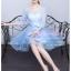 Z-0326 ชุดไปงานแต่งงานน่ารัก แนววินเทจหวานๆ สวย งามสง่า ราคาถูก สีฟ้า แขนยาว thumbnail 2