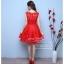 Z-0059 ชุดไปงานแต่งงานน่ารัก แขนกุด ผ้าลูกไม้ สุดหรู สวย เก๋น่ารัก ราคาถูก สีแดง thumbnail 4