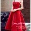 Z-0199 ชุดไปงานแต่งงานน่ารัก แนววินเทจหวานๆ สวย งามสง่า ราคาถูก สีแดง thumbnail 4
